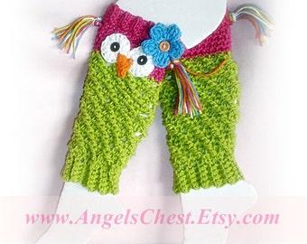 PDF Crochet Pattern Owl Leg Warmers or Leggings Sizes Newborn to Preteen No. 19
