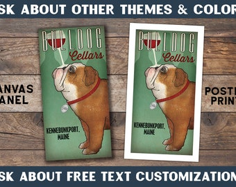 FREE Customization BULLDOG Wine PERSONALIZED Bulldog Brewing Company Gallery Wrapped Stretched Canvas or Poster