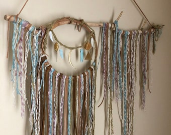 Desert Sky Healing Crystal Boho Wall Hanging Dream Catcher with Amazonite and Leather