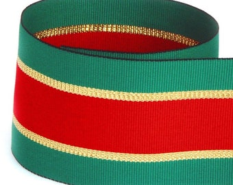 """2-1/4"""" Red / Green / Gold Metallic Elite Stripe Grosgrain Ribbon - Great for Christmas and Holidays"""