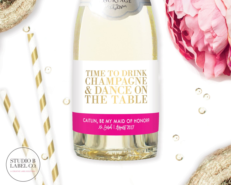 Mini Champagne Bottle Label Bridesmaid Gift Asking