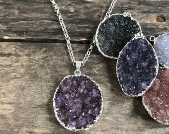Druzy Necklace, Large Druzy Necklace, Sterling Silver Necklace, Druzy Jewelry, Drusy Necklace, Gemstone Necklace, Agate Necklace