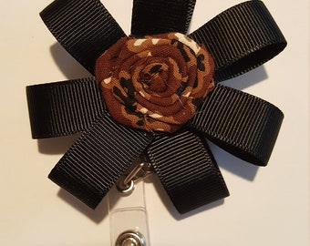 Balck and brown badge holder