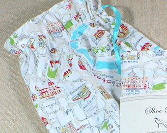 Italy, Travel, Shoe Bags, Map fabric, White, Aqua, Green, drawstring bag, cotton