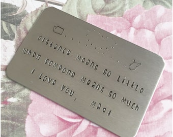 Stamped Message With Your Font - Hand Stamped Wallet Card - Credit Card Insert - Aluminum Insert - Hand Stamped US States - Personal Text