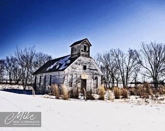 Winter School House - Photograph