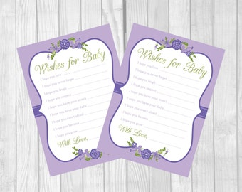 SALE Wishes for Baby, Dear Baby Printable Girl Baby Shower Game in Lilac, Lavender and Purple with Flowers - Instant Download