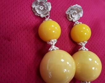 Yellow peonies, pendant earrings.