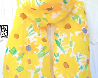 Handpainted Silk Scarf, Silk Scarf Women, Handmade Scarf, Yellow Silk Scarf, Yellow Floral Scarf, Yellow Sunny Flower Meadow, Made to Order.