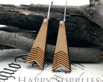 2pcs / 1 Pairs (HEW19) Laser Cut Wooden Dangle Earrings - HEW Series