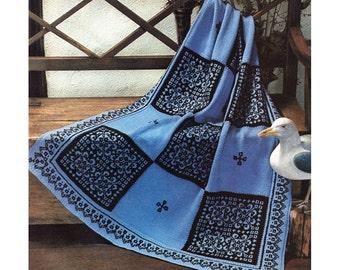Knit Blanket Pattern Vintage Scandinavian Afghan Knitting Pattern Throw Instant Download PDF - K72
