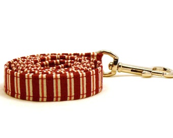 """Red and white striped dog leash - Baroque style pet lead - Red and white striped dog lead - 3/4"""" wide x 3.8 foot long"""