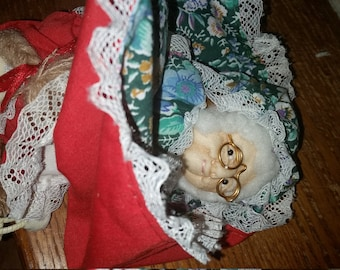 Vintage Alma Topsey Turvy Little Red Riding Hood and Grandma doll