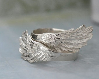 WINGED. sterling silver ring set for you and the other yourself