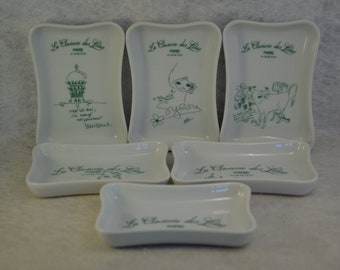 Set of 6 ashtrays from the Closerie des Lilas, illustrations by celebrities