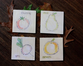 Fruit and Vegetable Nutrition Coasters