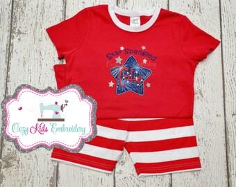 Fourth of July Pajamas, Patriotic Pajamas, Summer Pajamas, Boy Pajamas, Girl Pajamas, Star Spangled Cutie, Custom, Embroidery, Applique