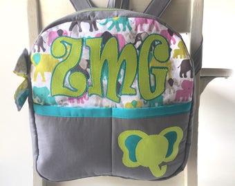 Personalized Backpack - Girls Backpack - Preschool Backpack - Toddler Backpack - Paisley Backpack  - Purple Flowers - Pink and Purple