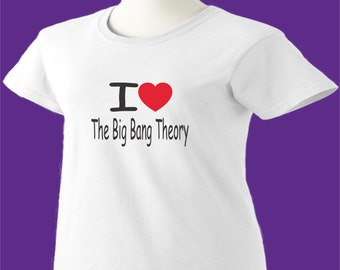 Big Bang Theory T-Shirt I Love Heart TBBT Womens