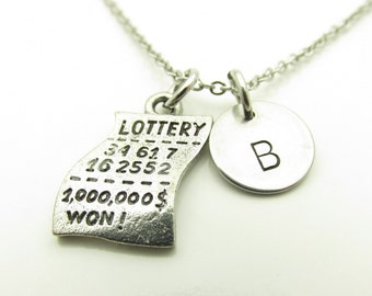 Lottery Ticket Necklace, Lotto Ticket Necklace, Personalized, Initial Necklace, Monogram Necklace, Good Luck Charm, Lucky Charm Y406