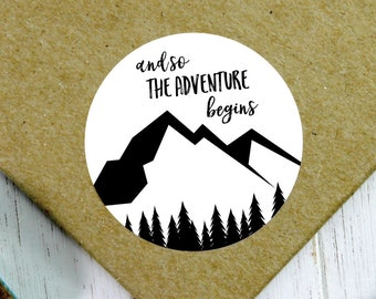 Mountain Wedding Sticker, And So The Adventure Begins, Adventure Wedding, Travel Theme Wedding Favor, Travel Theme Wedding, Trail Mix Favor