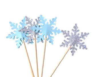 Snowflake Cupcake Toppers 12CT, Winter Wonderland Party Decorations, Snowflake Cupcake Picks, Winter Onederland, Frozen Party Decor - No589