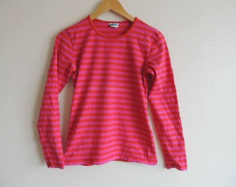 FREE SHIPPING - Vintage MARIMEKKO Pink and red striped long sleeve soft top, made in Finland, size xs