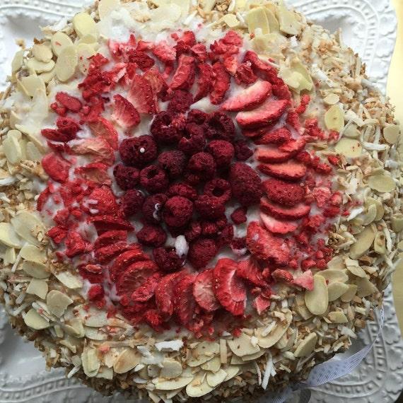 Vegan Almond Strawberry Coconut Vanilla cake, love, animal free cruelty,no eggs,no dairy.