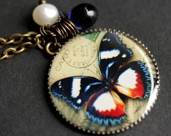 Colorful Butterfly Necklace. Butterfly Pendant with Dark Blue Teardrop and Fresh Water Pearl. Charm Necklace. Bronze Necklace.