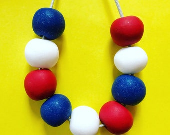 Red, white and blue necklace, Clay bead necklace, sparkly necklace, statement necklace, adjustable necklace, red necklace, blue necklace