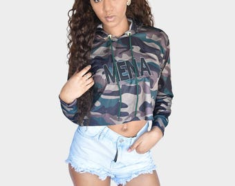 Mena Mode Crop Top Camo with Mena embroidered and Logo on the back