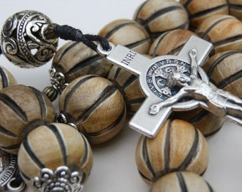 Saint Benedict Large Wooden Catholic Rosary beads, with Filigree Pater Beads, Our Father beads, Jesus Holy Face, Wall prayer beads.