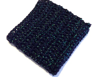 Black Spark Crocheted Square Dish Cloth