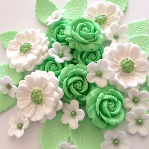 MINT GREEN ROSE Bouquet Edible Sugar Flowers Cake Cupcake ...