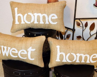 Home Sweet Home Burlap Pillow Set, Home Sweet Home Pillow, Farmhouse Pillows, Mothers Day Gift,  Burlap Pillow, Gift for Mom, Gift for Her