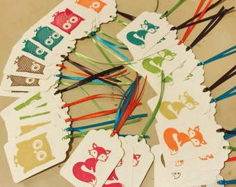 Owl Fox Woodland tag set 15 Handmade Blank baby shower birthday party Fall