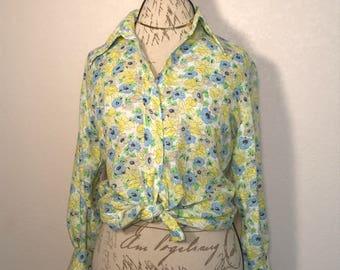 Vintage Floral Print Koret Blouse Brady Bunch Inspired 70s Blouse