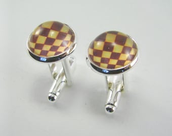 Men's CHESS BOARD Silver Cuff Links -- Chess board cufflinks for him and her, Chess art, Game board cufflinks, Abstract art cuff links