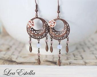 Swarovski Crystals Peach and Copper Dreamy Opalite Bohemian Leaf Earrings - Enchanted