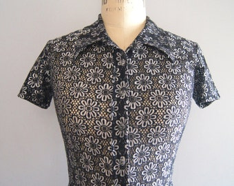 Vintage 90s Button Front Black & White Sheer Daisy Blouse