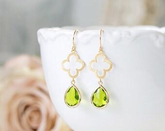 Peridot Green Earrings, August Birthstone Jewelry, August Birthday Gift, Clover Shamrock Earrings, St. Patrick's Day Jewelry