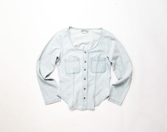 90s Denim Shirt 1990s Chambray Soft Grunge Jean Jacket Top Acid Light Blue Cotton Blouse Stone Wash CyberPunk Pastel Goth Aesthetic Small