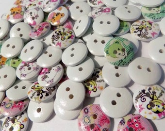 20 Animal Pattern Round Mixed Buttons - Wood Sewing Buttons  - #WS-00050