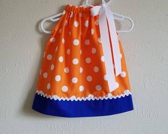 Florida Gator Dress Pillowcase Dress University of Florida Orange White Blue Game Day Dress baby dress toddler dress girls dress Gators