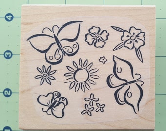 "Butterflies, Sun, Flowers Design - Hardwood Mounted Rubber Stamp by Ducks in a Row - 2.5"" X 2.75"""