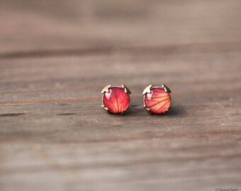 Rose red stud earrings, Mothers day gift Rose petal jewelry, Orange stud earrings, Tiny stud earrings, Rose petal earrings Red rose earrings