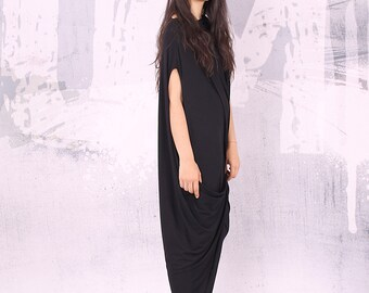 Black loose maxi dress with very short sleeves, plus size dress, oversized tunic dress, long tunic dress,  - UM-028-VL