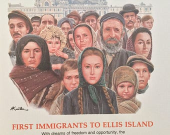 Vintage Matt Kunstler's Epic Events in American History First Immigrants to Ellis Island Commemorative Stamp, Scott#1035, Fleetwood Cachet