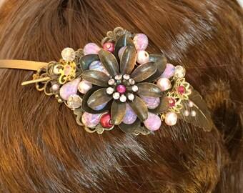 Flower Headband, Boho Headband, Flower Girl Headband, Wedding Headband, Boho Flower Hair Accessory