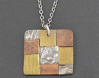 Mixed Metal Necklace, mixed metals, mixed metal jewelry,sterling silver, brass, copper, mixed metal pendant, multi metal, michele grady
